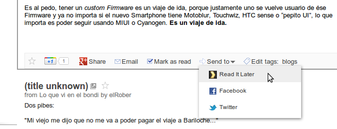 Read It Later dentro de Google Reader